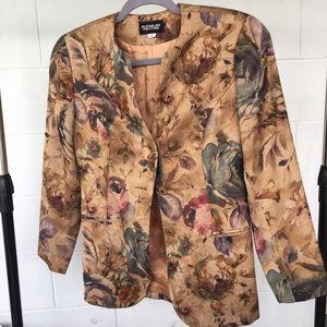 Suitables Petites Blazer, Size 4, Tan Floral